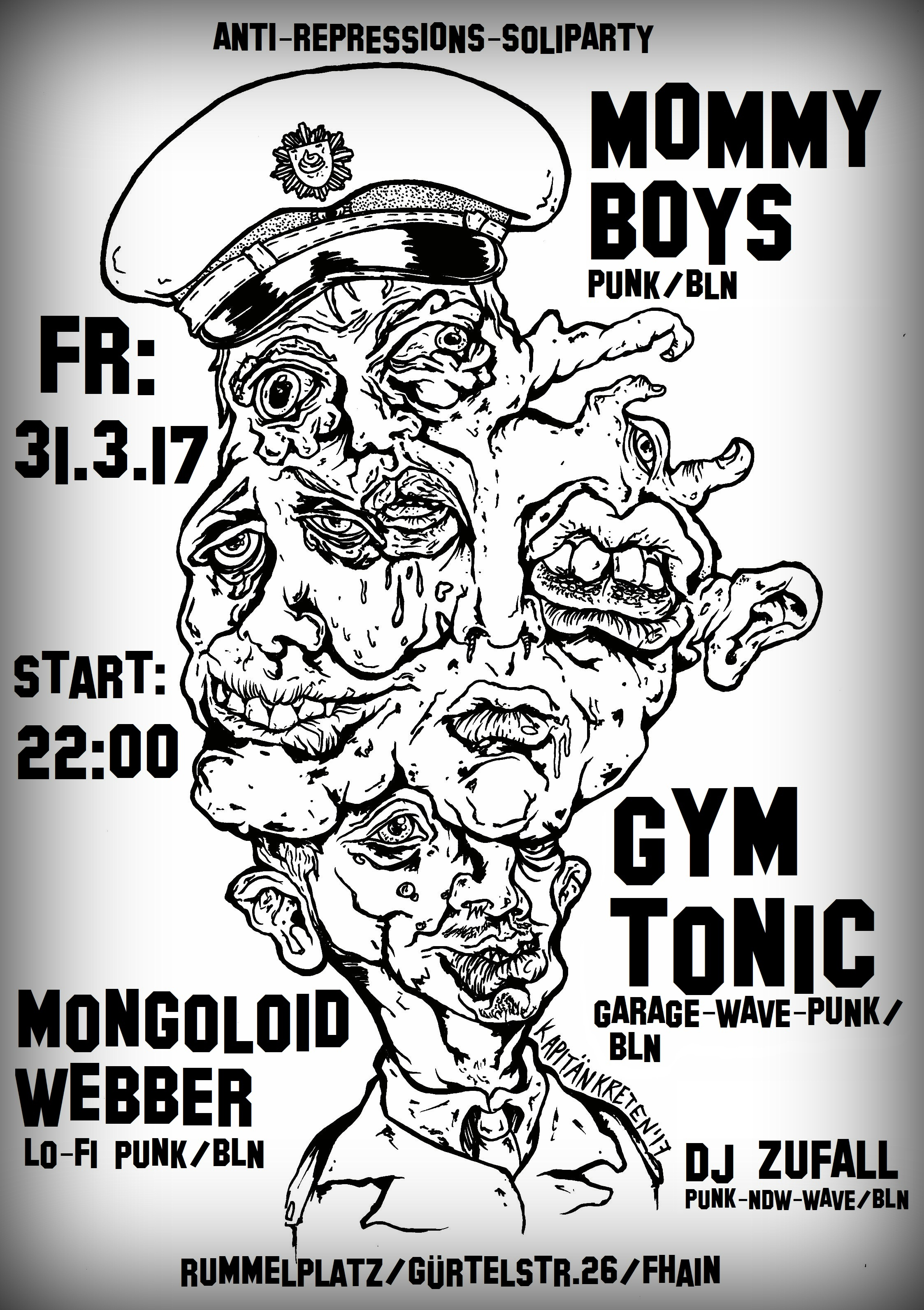 mongoloid webber, mommy boys, gym tonic,berlin, rummelplatz,lofi,livertrance, anti-repressions-soliparty