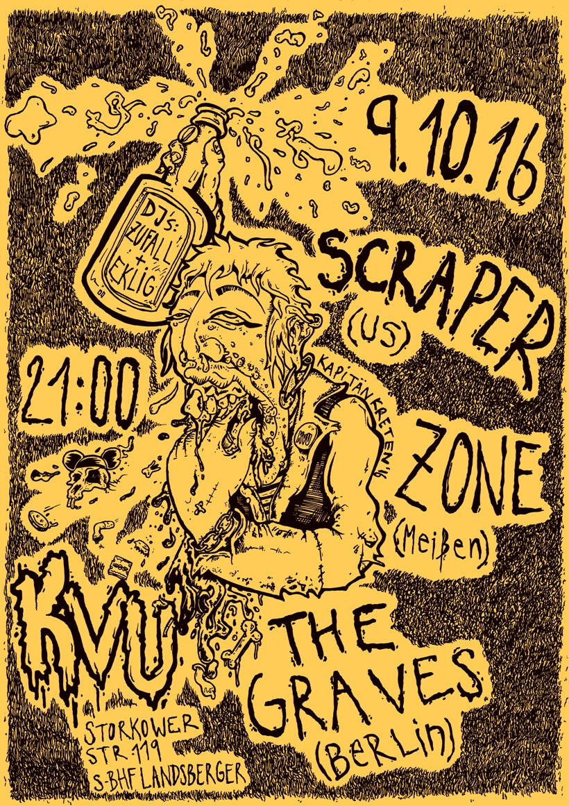 kvu, kapitän kreten, scraper, zone, the graves, berlin, punk, magnus